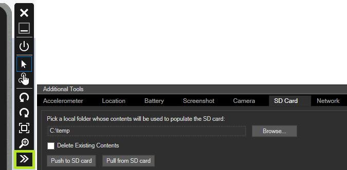 Emulator Options > SD Card