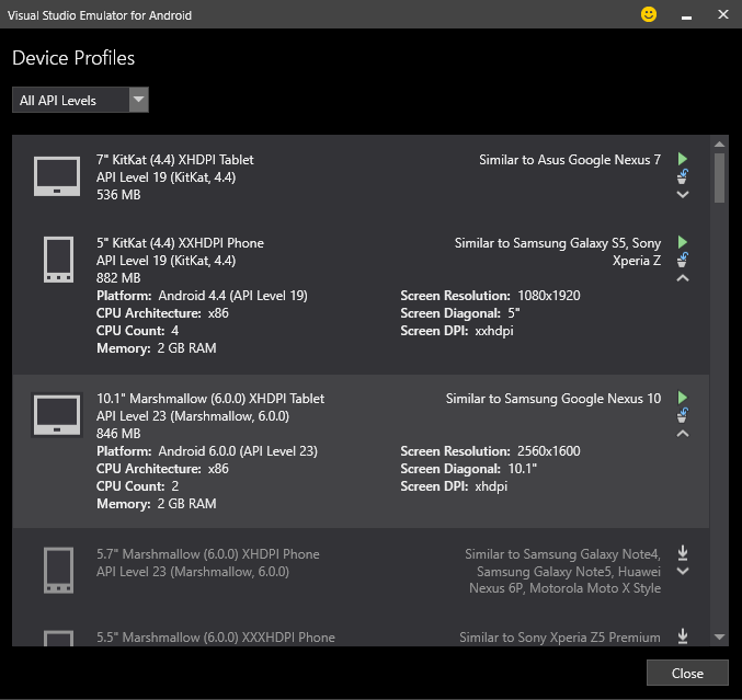 Device Profiles